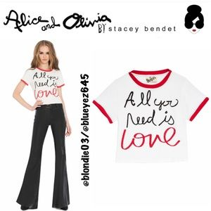 "Alice + Olivia x The Beatles ""Cindy"" crop top M"